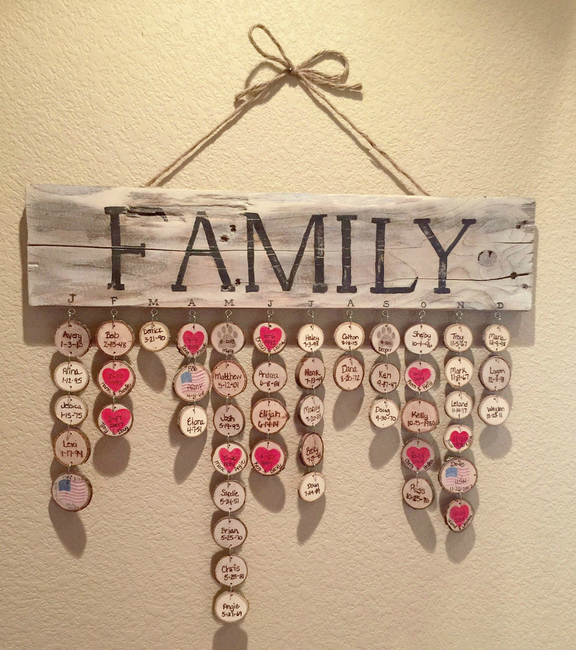 rustic family birthdays plaque by easelyinspired on etsy. Black Bedroom Furniture Sets. Home Design Ideas