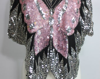 70's Silk Sequined Pink Black And Silver Butterfly Disco Top