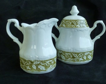 J. G. Meakin Green Transferware/ Sterling Colonial Ironstone/ Cream and Sugar Set/ White and Green/ England