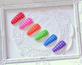 Baby / Toddler Bright Polka Dot Hair Clips – Set of Six Rainbow Snap Clips - Ready to Post
