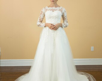 Long sleeves A line lace wedding dress, Royal/Classic Style long sleeves bridal gown,  Lace Appliques Back