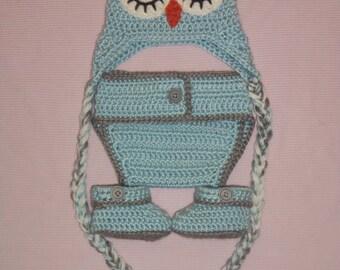 Crocheted Newborn Sleepy Eyed Owl Set