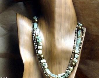 Earth Mama. Salvaged and new. Necklace. Swarovski pearls. Jasper stones.