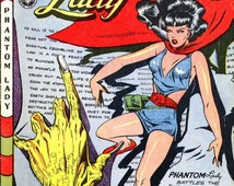 Phantom Lady battles the Knights of the Crooked Cross comic cover August 1947 reprint