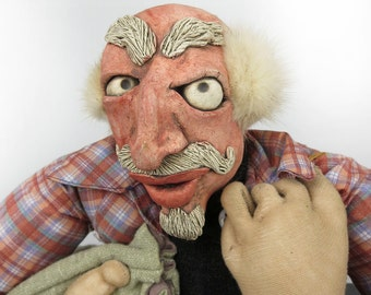 """Vintage OOAK Handmade Doll """"The Colonel"""" Man Clay Face Peasant Cloth Rustic Doll Rag Doll Peasant Clothes Primitive Outsider Art Naive Art"""