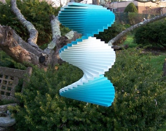 Aqua Pale Blue hanging garden outdoor yard twister Spinner spinny floater wind chime
