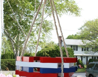 Indoor Outdoor Octagon hexagon Wooden RED WHITE BLUE Garden Porch Rope Hanging Planter 4th of July