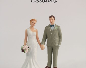 Woodland Bride And Groom Wedding Cake Topper - Vintage Inspired Bride and Groom - Porcelain Wedding Cake Topper - Personalize - Custom