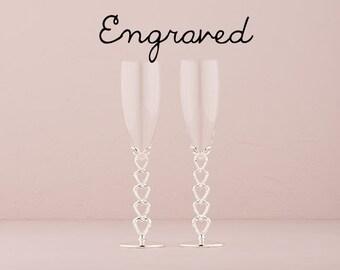 Personalized Wedding Flutes - Engraved - Silver Plated Stacked Hearts Wedding Champagne Flutes - Custom Wedding Toasting Flutes - Keepsake