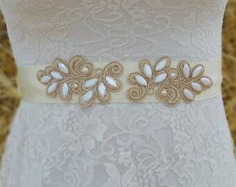 LENI Style- Lace Wedding belt, Bridal lace belt, Wedding lace sash, Lace bridal belt, Ivory lace belt, Ivort sash