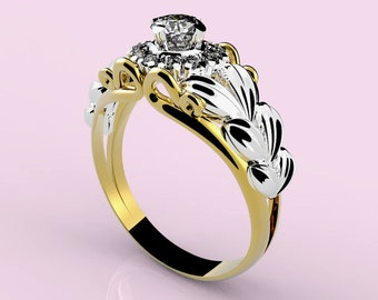 ring in gold 18 Kt, with central diamond 0.20 Ct and wreath of 12 brilliant from Ct 0.01 each, (all color G purity VVS).