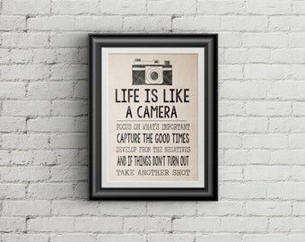 Life Is Like A Camera Wall Art Motivational Wall Art Inspirational Quote Typography Art Print