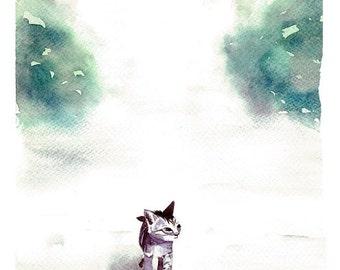 Little Kitty Cat Original Watercolor Painting Art Print, Cat Art, Home Decor, Wall Art, Nursery Wall Art, Kitten Art, Cat lover Gift