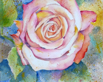 rose in watercolor