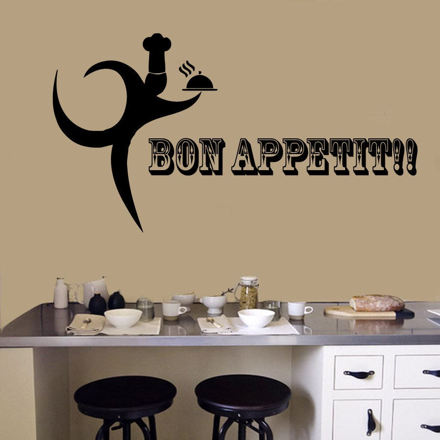 Wall Decals Bon Appetit Quote Phrase Words Chef Server Cooking