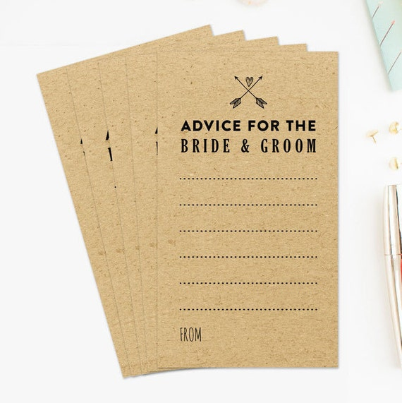 Wedding Advice Cards for the Bride and Groom, Advice for the Bride and ...