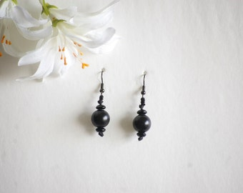 Black Earrings - All Black Earrings - Black beaded earrings - Black Dangle Earrings - Black Jewelry - Black Bead Earrings