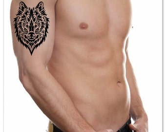 Temporary Tattoo Wolf Fake Tattoo Thin Durable