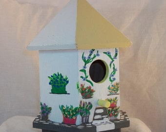 Hand Painted Hexagonal Decorative Birdhouse