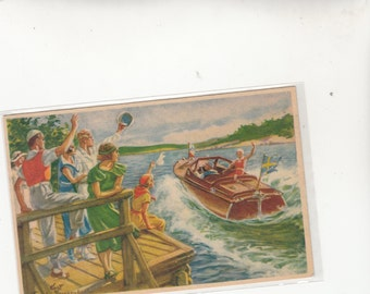 Swedish Artist Nystrom Summer On Lake Classy Wood Boat, Onlookers Wave, Postcard