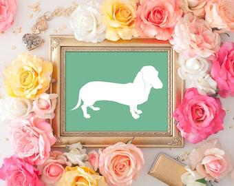 75% OFF SALE - Wiener Dog Art - 8x10 Printable Art, Dog Art, Dachshund Print, Wall Art, Wiener Dog, Dog Print, Dog in Art, Home Decor, Green