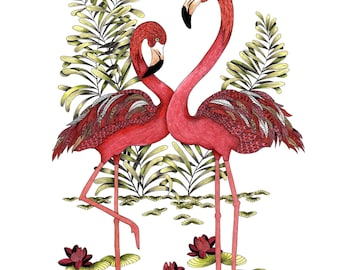 Personalised art Pink Flamingo print. Perfect wedding gift, flamingo gifts or for your flamingo decor
