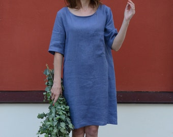 Working  Tunica | Washed Linen Dress | Women dress | Leisure Dress | Boat Neckline Dress | Short Sleeves Dress