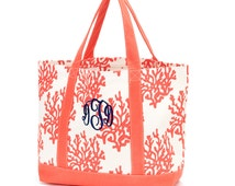 Tote Bag - Monogram Canvas Tote Purse/ Handbag / Monogram Bag Pocketbook / Navy Stripe / Pink Stripe / Coral / Mint