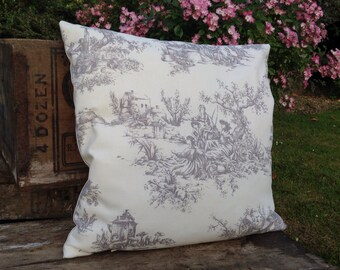 French Toile De Jouy Cushion Cover - Dove Stone Grey 16cm