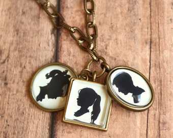 Custom Silhouette Necklace | Three Pendants