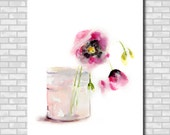Pink Flowers Still Life Watercolor Painting Art Print, Watercolour Art, Wall Art, Floral