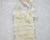 Ivory Lace Romper, Baby girl Romper set, Newborn Romper, Girls Romper, Cream Romper, Ruffle Romper, Ivory Cream Romper , Girls lace romper