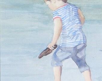 Girl on beach Watercolor, Beach Painting, Oregon Coast painting, Ocean Painting