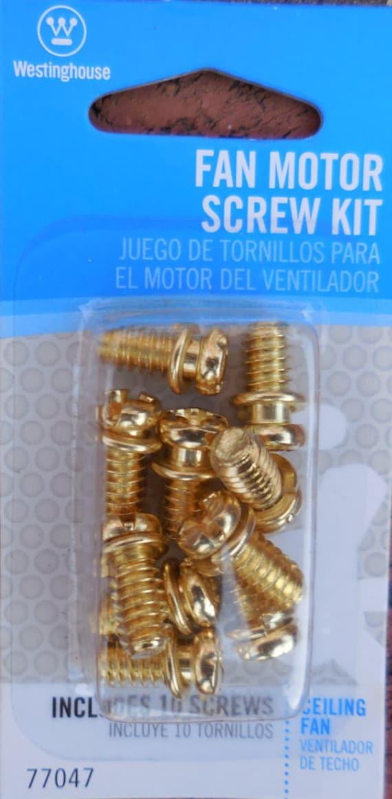 Fan motor screw kit westinghouse 10 piece brass motor for Ceiling fan motor screws