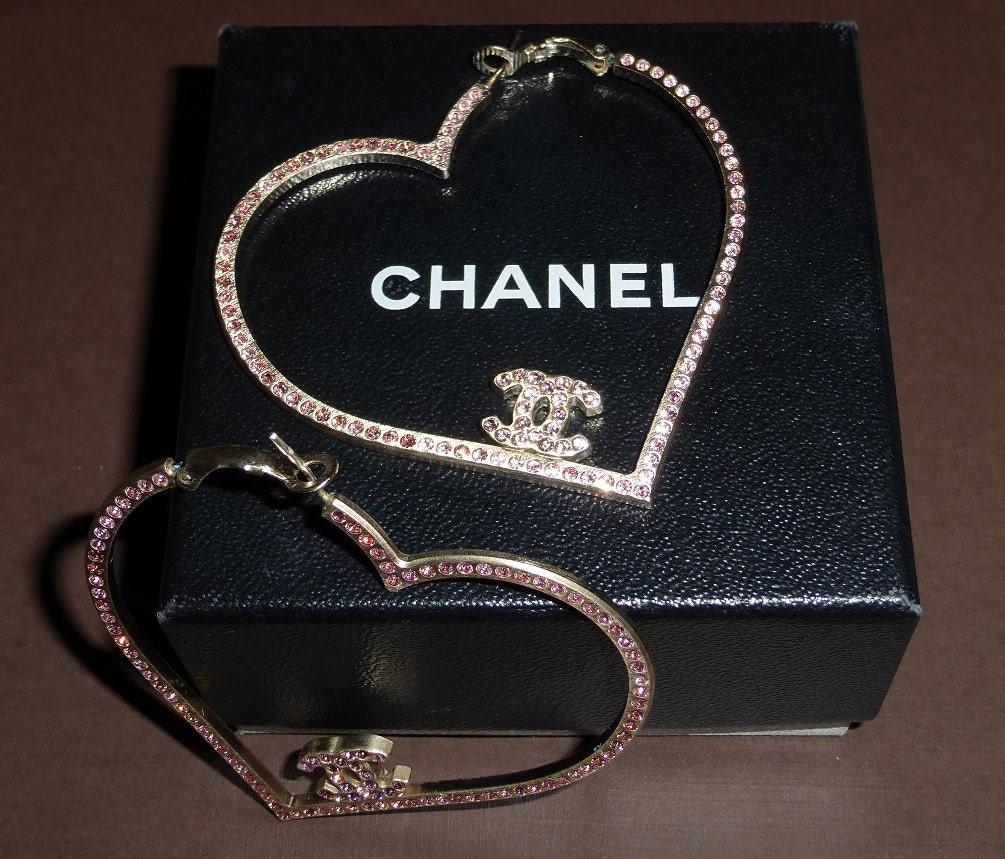 Huge Chanel Pink Rhinestone Heart Hoop Cc Earrings Rare
