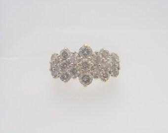 3.00 C.T.W Ladies Round Cut Certified Diamond Cluster Ring 14K Yellow Gold