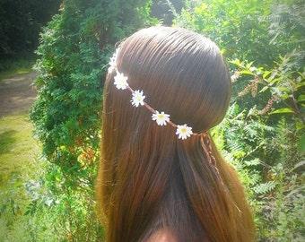 Daisy headband, Daisy Flower Crown, Flower, Headband, White, Daisy,  Daisies, hippie, boho, bridal, floral, hipster, bohemian, gypsy, edm