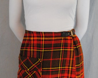 Vintage 60's Plaid Wool Skirt - High Waisted Skirt
