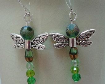 Green Glass Dragonfy Earrings