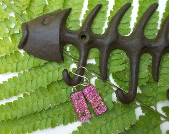 Sparkling pink dichroic glass dangle earrings