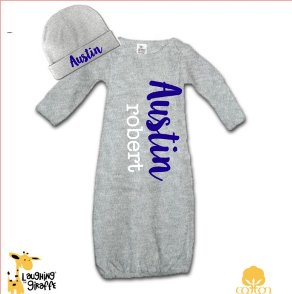 Personalized baby gift set coming home boy outfit