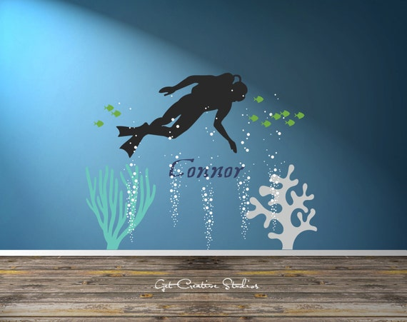 Scuba wall decal underwater wall decal ocean wall decal for Diving and fishing mural