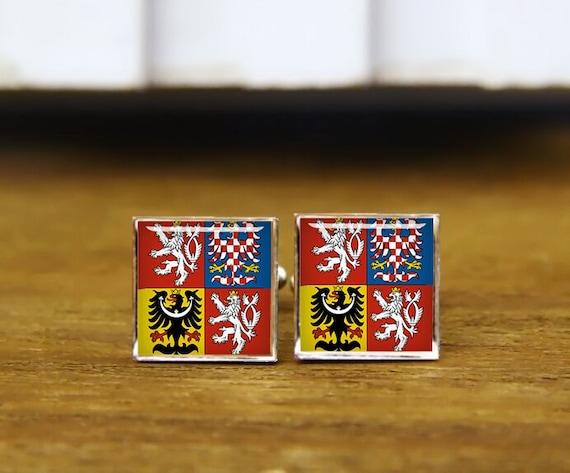 czech emblem cufflinks, czech flag cufflinks, custom national symbol, custom wedding cufflinks, round, square cufflinks, tie clips, or set