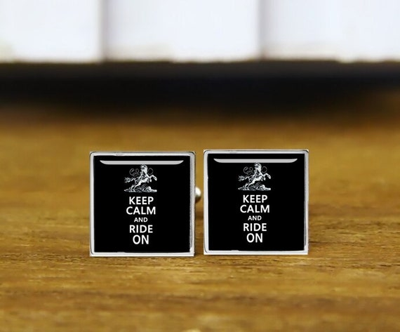Keep calm and ride on cuff links, ride cufflinks, riding cufflinks, custom wedding cufflinks, round, square cufflink, tie clips, or set