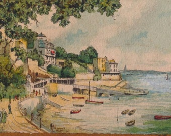 Cote D'Azur Watercolor Signed Barday 1920s France