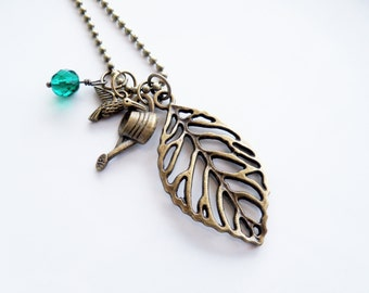 Gardening Necklace - Leaf Charm Jewelry - Garden Lovers - Watering Can Charm - Gardener - Filigree Leaf - Custom Charm Necklace - Everyday