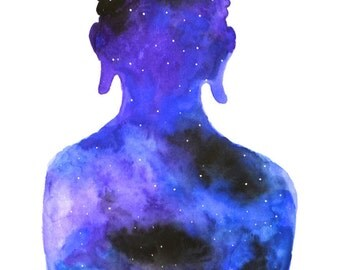 Watercolour Buddha Galaxy Print