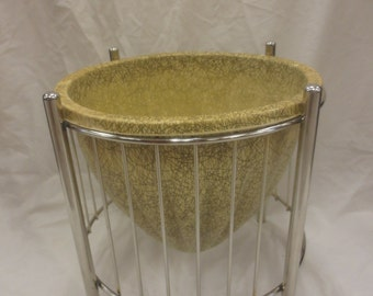 Retro Mid-Century Bullet Planter in molded fiberglass with wrapped wire stand - Great for plants, as an ice bucket, etc.