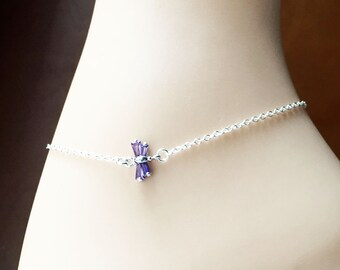 Lovely Dragonfly Silver Anklet 'Purple Fly'-Cubic Zirconia-Sterling Silver Chain-Optional Extender-Purple Anklet-Foot Bracelet-With Gift Box