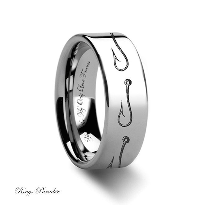 Tungsten wedding band tungsten ring hook tungsten ring mens for Fishing wedding band